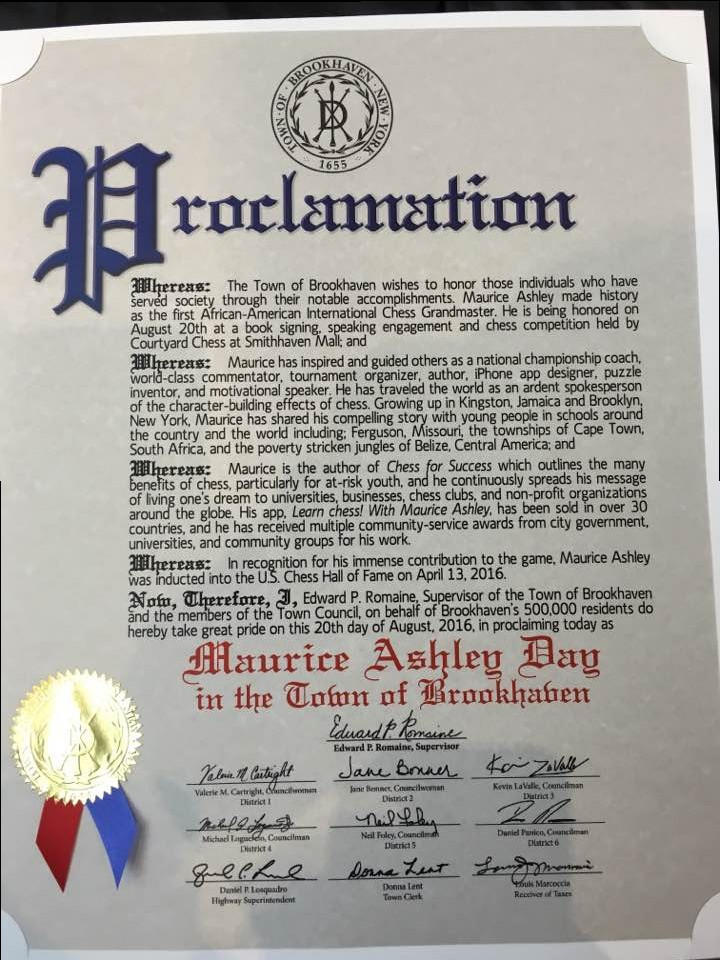 Grandmaster Maurice Ashley has August 20 named after him by the Town of Brookhaven.